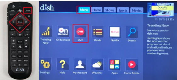 Remote & Menu Screen